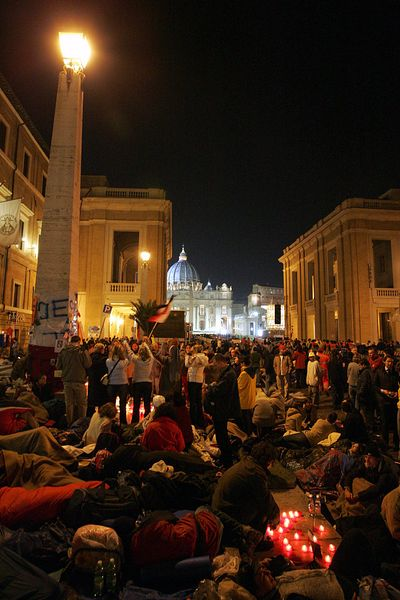 Hundreds of thousands of pilgrims are ready to spend their last night on the streets before the late Pope John Paul II's fune...