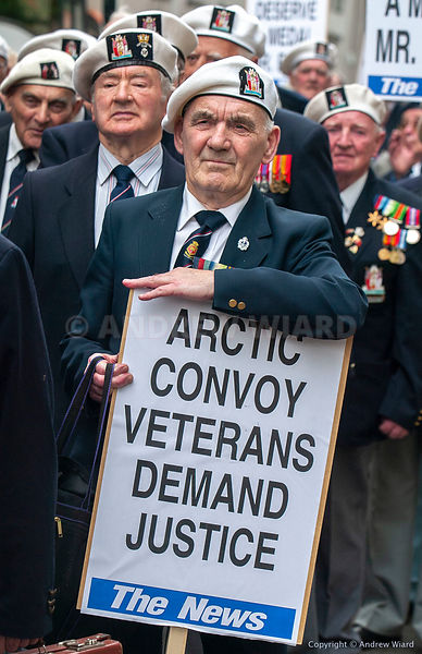 England , UK . London . 15.5.2004.  Arctic Medal Campaign. March by arctic convoy veterans & supporters past Downing Street p...