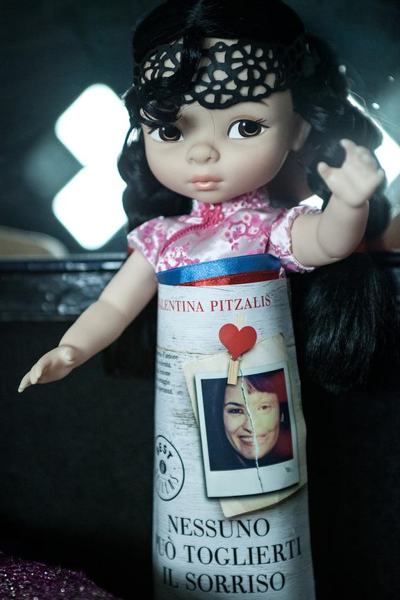 "A doll dedicated to Valentina Pitzalis; ""No-one can take your smile away from you""."