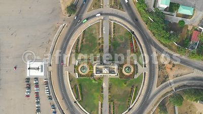 Black Star arch round about, Accra from above, drone video