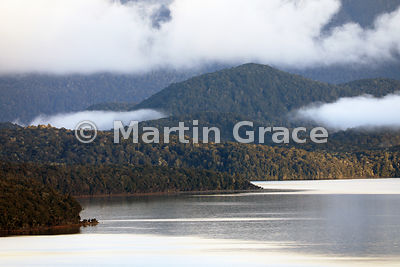 Lake Te Anau at dawn with sun causing a golden glow on the native forest of Kepler Mountain foothills, Fiordland National Par...