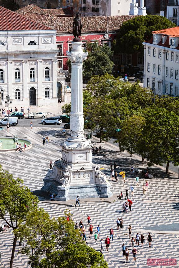 Aerial view of Rossio square, Lisbon, Portugal