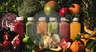 Variety of fresh smoothies or juices for detox diet program