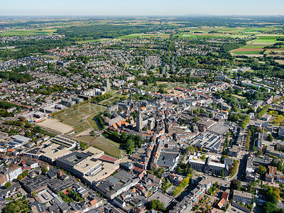 Sittard, the historic centre as seen from Rijksweg Noord with the Sittard firing fields on the left.  | 306213