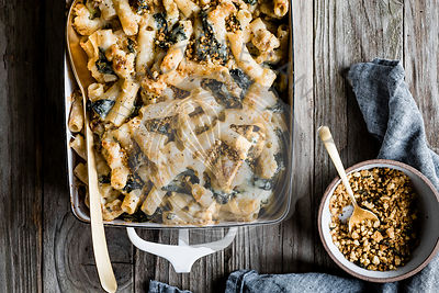 Cheesy cauliflower and kale baked rigatoni with sage breadcrumbs