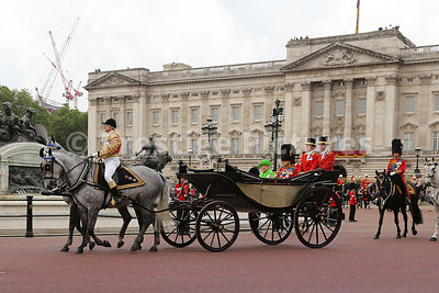 The Queen and Prince Philip, Duke of Edinburgh riding to the Trooping the Colour Ceremony from Buckingham Palace