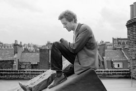 #74831,  Cornelius Cardew (1936-1981), avant-garde musician and composer, on the rooftops, Fitzrovia, London.  3rd July 1970..