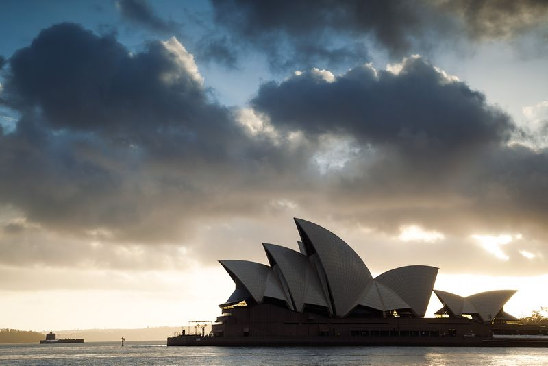 Opera house at sunrise, Sydney, Australia
