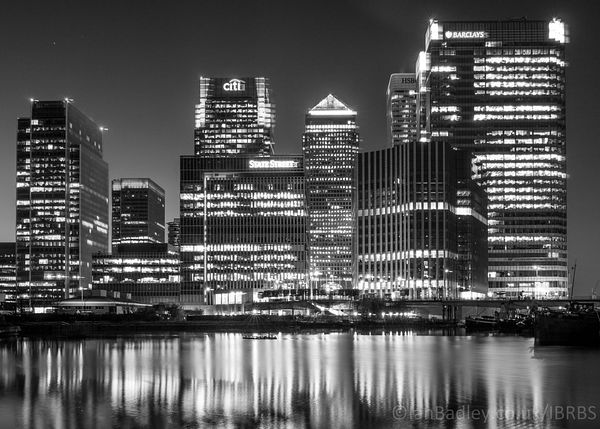 Night time over Canary Wharf, London.