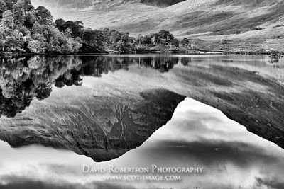 Image - Liathach reflected in Loch Clair, Torridon, Wester Ross, Highland, Scotland.  Black and white.