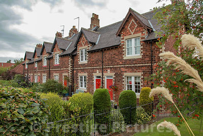 Small terrace of traditional red brick cottages