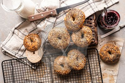 Fresh bagels on a cooling rack
