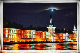 art,naval academy,istanbul,turkey,painting,airbrush,lights,night