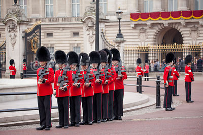 Irish Guards preparing for their Street Lining duties around Buckingham Palace