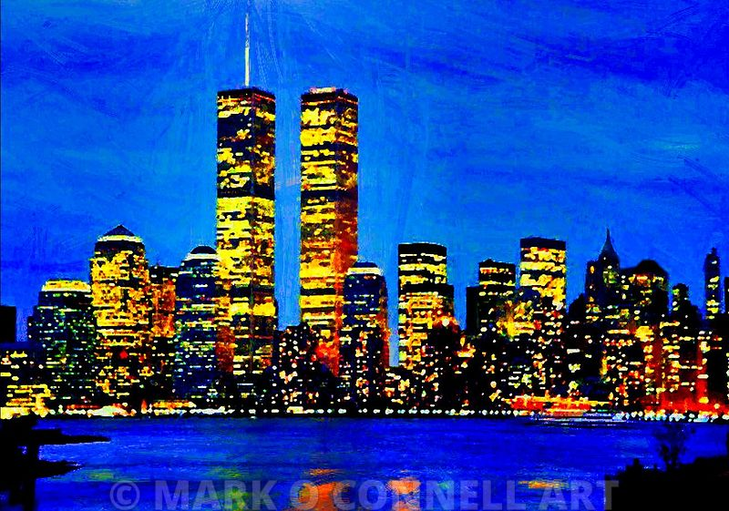 art,painting,airbrush,sky,night,911,twin towers,new york,america,river,hudson,lights,reflection,skyline,city