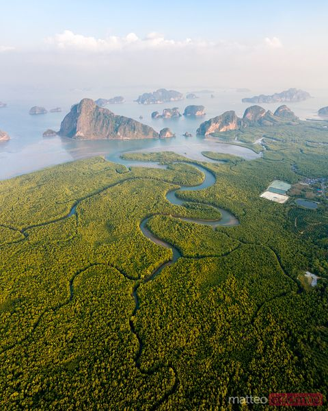 Aerial view of river leading to Phang Nga bay at sunset, Thailand