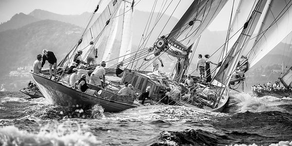 Classic Fife yacht Cambria 1828 in a congested sea. BW