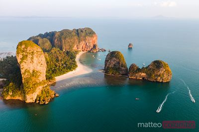 Aerial view of beach at sunset, Railay, Krabi province, Thailand