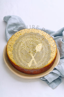 Lemon sponge cake with poppy seeds