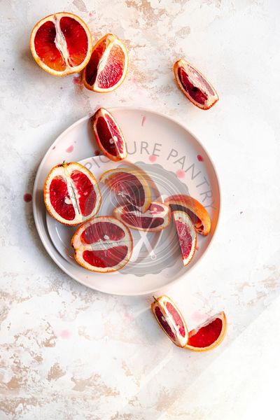 Blood oranges sliced on a plate