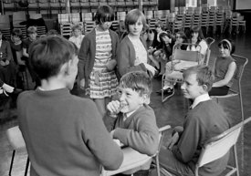 #83669,  Drama class, Whitworth Comprehensive School, Whitworth, Lancashire.  1970.  Shot for the book, 'Family and School, P...