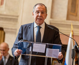Press conference between Italian Foreign Minister Enzo Moarova Milanesi and Russian Foreign Minister Sergey Lavrov, Rome, Ita...