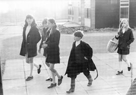 #83610,  Arriving at school in the morning, Whitworth Comprehensive School, Whitworth, Lancashire.  1970.  Shot for the book,...