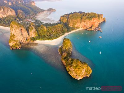 Aerial view of Ao Phra Nang beach at sunset, Railay, Thailand