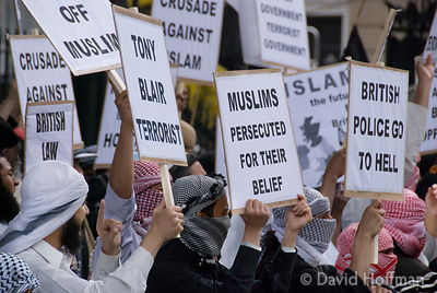 070615-121 Muslim demonstration against police oppression and terrorist stereotyping opposite Downing Street, Whitehall, Lond...