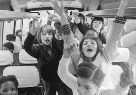 #74797,  Anna Scher Children's Theatre, North London 1972.  Kids would come after school and be expected to work hard.  Here,...