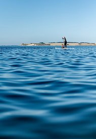 Standup paddle surfing on Mors, Denmark