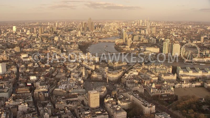 Aerial footage of Covent Garden, West End, Trafalgar Square, River Thames, London.