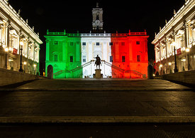Rome landmarks and notable buildings illuminated with the colours of the Italian tricolour flag., Rome, Italy, 12, Apr, 2020