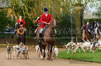 Cottesmore hounds at the meet. The Cottesmore Hunt at Pickwell 31/12