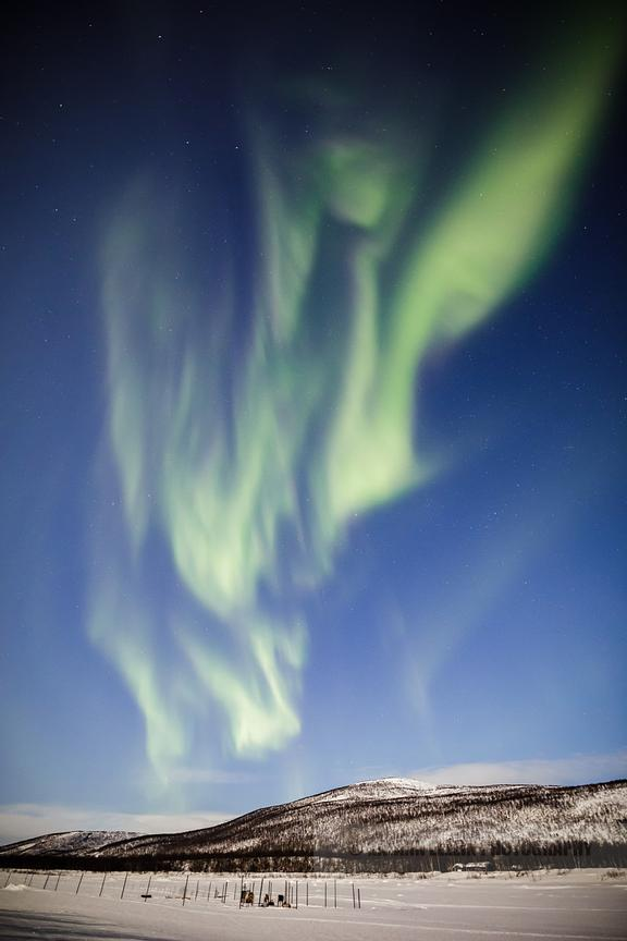 Large display of aurora borealis in Utsjoki, Finnish Lapland