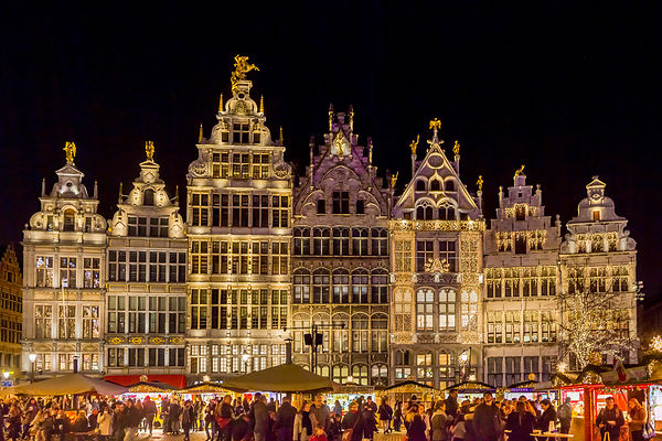 The Splendid Guild Houses in Grote Markt, Antwerp with a Christmas Market