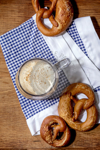 Dark beer with pretzels
