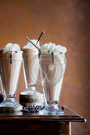 Homemade Mocha Frappe with Whipped Cream and Chocolate Sauce.