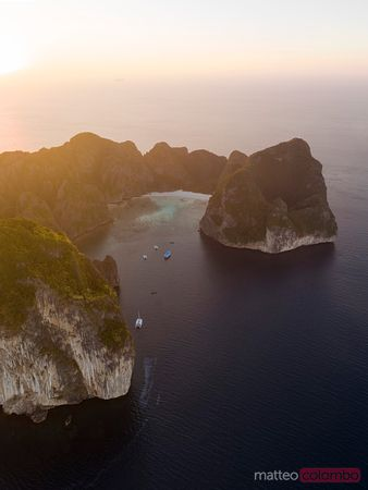 Aerial view of  Maya bay at sunset, Phi Phi islands, Thailand