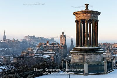 Image - The Dugald Stewart Monument on Calton Hill, City and Edinburgh Castle, Scotland