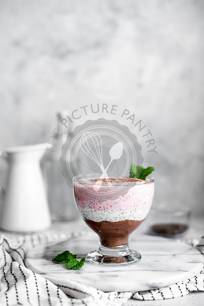 Neapolitan Chia Pudding With Mint Garnish