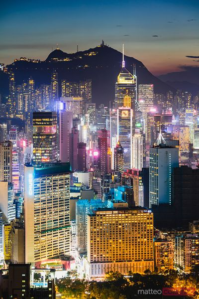 Hong Kong Island skyline at dusk, China