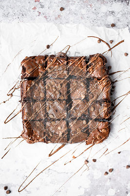 Double Chocolate Brownies Drizzled In Milk Chocolate And Sprinkled WIth Sea Salt