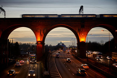 Stockport viaduct at night