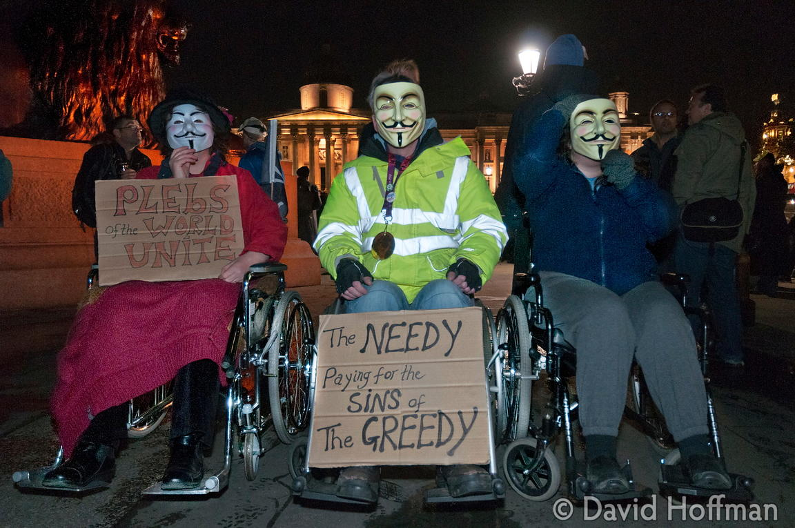 Operation Vendetta. An Anonymous protest against inequality and the vast transfer of money from the poor to the rich.