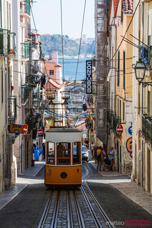 Bica funicular in the old town, Lisbon, Portugal