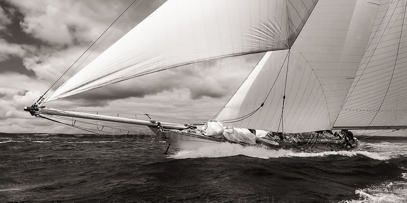 Classic yacht Mariquita  on the rail (Light sepia)