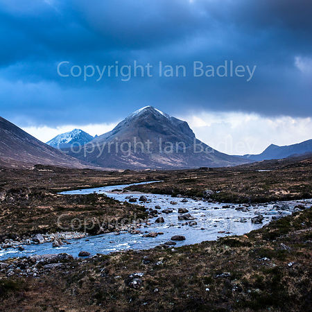 Sligachan River valley and a snow topped Marsco.