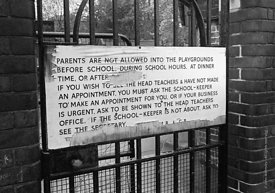 #76361  Large sign on the gates of a Roman Catholic Primary school illustrating how unwelcoming some schools were in those da...