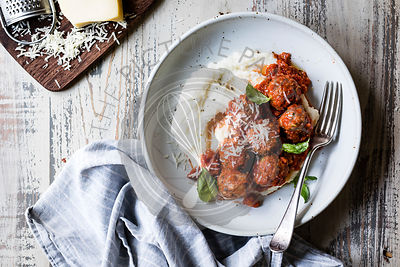 Zucchini Gouda Turkey Meatballs with Cheesy Baked Polenta